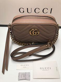 c834d7f9063 Gucci mini Shoulder bag GG Marmont nude matelassé leather BRAND NEW Gucci  Handbags