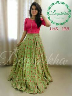 Buy Pink & Green Embroidered Banglori Silk Lehenga Choli online in India at best price. Party wear lehenga choli combination to woo the on lookers. Half Saree Designs, Lehenga Designs, Saree Blouse Designs, Dress Designs, Long Gown Dress, Lehnga Dress, Indian Designer Outfits, Indian Outfits, Mode Bollywood