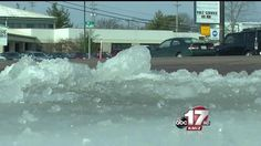 Water leak causing icy conditions on Business Loop Ice Dam Removal, Ice Dams, Conditioner, Business, Water, Outdoor, Gripe Water, Outdoors, Store