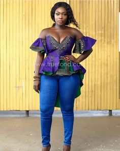 latest ankara tops on jeans out trending latest ankara tops to rock on fridays African Attire, African Wear, African Fashion Dresses, African Dress, Ankara Fashion, African Theme, Ankara Blouse, Ankara Tops, Ankara Skirt