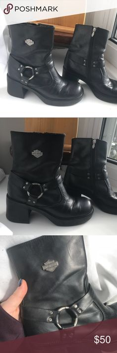 Harley-Davidson leather boots Excellent used condition with exception of inside of right heel. Slight friction melt of corner from dragging off the bike. Doesn't effect functionality. Slight scuff on the toe, but boots just need a good polish. REASONABLE OFFERS ACCEPTED! Harley-Davidson Shoes