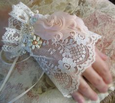 Victorian Lace Cuff Beaded Embroidery. $38.00, via Etsy.