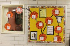 A bulletin board for the wonderful Newbery book The Crossover by Kwame Alexander.  My colleague cut 10 orange circles from butcher paper to create the basketballs and typed up the 10 rules presented in the book and added a rule to each ball.  I love the way the balls bounce into the bulletin board!
