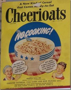 May The cereal Cheerios is introduced by General Mills under the original name Cheerioats. Initial shipments of the cereal to 6 test markets began on May 1941 . The name was changed to Cheerios in 1946 because of a trade name dispute with Quaker Oats. Vintage Advertisements, Vintage Ads, Vintage Food, Retro Advertising, Funny Vintage, 1. Mai, Cereal Killer, General Mills, Breakfast Of Champions