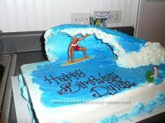 Homemade Surfer Cake: I made this Surfer Cake for my friend's son birthday who just started to learn to surf. I imaged how waves break when I am on the waves and check waves
