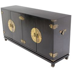 Black Lacquer Oriental Mid-Century Modern Sideboard or Credenza | From a unique collection of antique and modern sideboards at https://www.1stdibs.com/furniture/storage-case-pieces/sideboards/