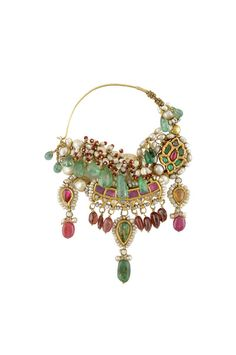incredible, elaborate bridal Nath, nose ring by amarapali, meenakari nath with drops in rubies and jade, funky, edgy, chunky, statement bridal jewellery, mehendi nath
