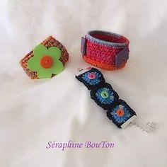 Bracelets de la collection bohème de Séraphine Bouton! #creation #creativity #creavenue #botone #boutons #buttons #bohemestyle #crochetersofinstagram #bracelet #manchette #craftjewelry #cotton #couleurs #inspiration #alittlemarket