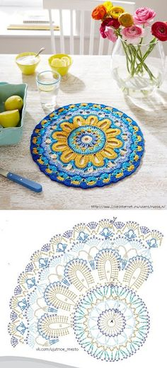 Crochet mandala rug crafts 68 New Ideas Motif Mandala Crochet, Mandala Rug, Crochet Coaster Pattern, Crochet Diagram, Crochet Stitches Patterns, Crochet Chart, Crochet Doilies, Crochet Flowers, Crochet Placemats
