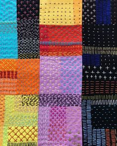 Stitch by #stitch ➖➖➖here and there ➖➖➖ #runningstitch #sashiko #embroidery #quilt #modernquilt #colourfull #colours #geometric