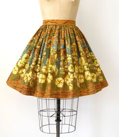 """Sweet Bee Finds on Instagram: """"SOLD 🌵 SOLD Vintage 1950s skirt, cactus & desert floral print cotton, fitted waist, full skirt, button closure with hidden snap & hook &…"""" 1950s Skirt, Border Print, Novelty Print, Printed Skirts, Printed Cotton, Cactus, Deserts, Bee, Floral Prints"""
