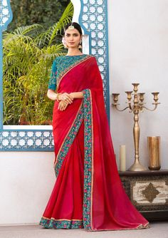 Red and magenta saree with blouse. Work - Embroidered patch border on saree with embroidery and stones on blouse. Paired with the matching blouse piece.Please Note: The shades may vary slightly Indian Bridesmaid Dresses, Indian Dresses, Indian Fashion Trends, Fashion Styles, Fashion Ideas, Party Wear Sarees Online, Saree Wearing, Designer Sarees Collection, Saree Collection