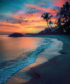 Sunsets at the beach. Beach Sunset Wallpaper, Ocean Wallpaper, Sunset Beach, Beach Sunsets, Beach Sunset Painting, Beach Pictures, Nature Pictures, Beautiful Pictures, Beautiful Sunrise