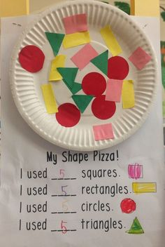 Love, Laughter and Learning in Prep!: Five for... Something! Shapes, Snakes, Segmentation and Sensory Paint! My Shape Pizza. I used ___ squares, etc.
