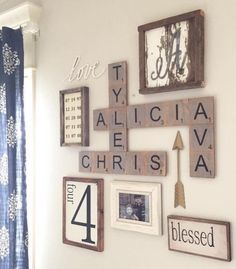 I love my four kids. This is perfect for a gallery wall! Scrabble letters and the #4.