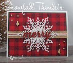 Snowfall Thinlits meets Buffalo Plaid Limited time offer to get the Snowfall Thi. Snowfall Thinlits meets Buffalo Plaid Limited time offer to get the Snowfall Thinlits as part of Stampin' Up! Christmas Cards 2018, Stamped Christmas Cards, Homemade Christmas Cards, Stampin Up Christmas, Homemade Cards, Holiday Cards, Diy Christmas Cards Cricut, Christmas Cookies, Xmas Cards To Make