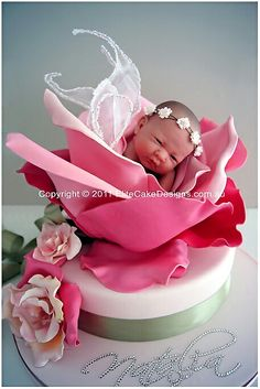 Baby in a rose cake