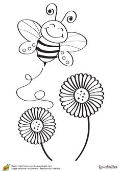 Bee Drawing, Drawing For Kids, Bee Stencil, Stencils, Cartoon Bee, Bee Art, Bird Silhouette, Flower Doodles, Bee Theme