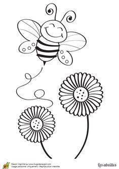 Une petite abeille qui butine des fleurs, dessin à colorier