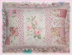 Sage Pillow Pink Cottage Rose Chenille Shabby Green Roses Flowers   originalsbycindy - Housewares on ArtFire