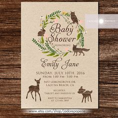 woodland baby shower invitation woodland baby shower woodland invitation rustic baby shower invite printable wreath