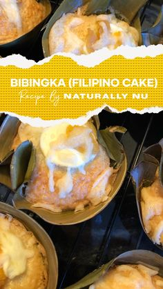 It's a Filipino coconut rice cake that's traditionally topped with a salted duck egg and cheese. Gluten Free Desserts, Gluten Free Recipes, Dessert Recipes, Coconut Rice, Rice Cakes, Banana Recipes, Shredded Coconut, Cake Batter, No Bake Cake