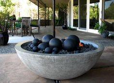 Granite fireplace for garden