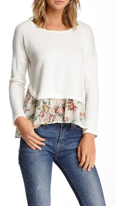 Long Sleeve Peplum Sweatshirt. Bet I could just sew the peplum on a pullover and it would be just as cute.  Love this.  Way!!