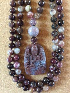 Tourmaline and Indian Bloodstone Mala by ManiMantraMala on Etsy, $129.00