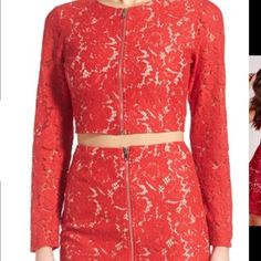Misguided red lace crop top Sz small NWT Red and nude lace top ASOS Tops Blouses