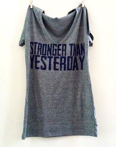 "Large Grey Women's ""Stronger Than  Yesterday""  Fitness / Workout / Crossfit Tank"