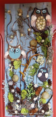 Sea N Shore Owl Wall art panel by CarmelasCoastalCraft on Etsy  nice as a Beach Wedding gift...unique, one of a kind hand crafted mixed media art piece