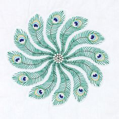 Jack Dempsey Stamped Quilt Blocks Peacock Feathers White