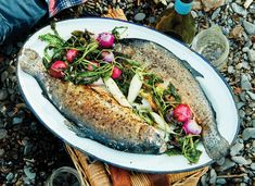 Campfire Cooking: Pan-Seared Rainbow Trout with Whole Radishes, via TASTE