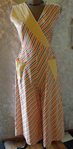 30's cotton striped beach pajamas