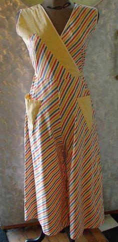 30's cotton striped beach pajamas
