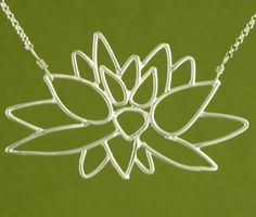 Lotus Blossom Necklace handmade by Garden of Silver.