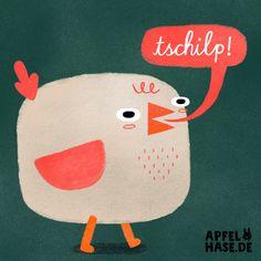 Tschilp und guten Morgen.  Apfelhase Illustration  Fink, Vogel, bird, illustration, character