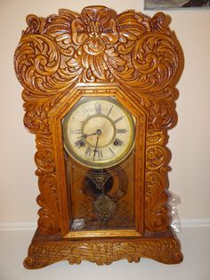 ANTIQUE WATERBURY MANTLE OAK GINGERBREAD CLOCK | Antiques of ...