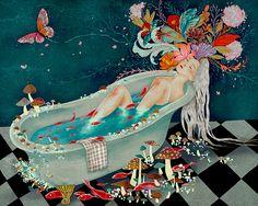 Wandering Thoughts by Khoa Le Art And Illustration, Illustrations, Psychedelic Art, Painting Inspiration, Art Inspo, Kunst Inspo, Art For Art Sake, Whimsical Art, Aesthetic Art