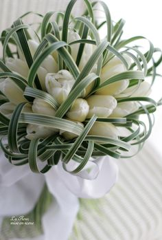 White Tulip Bouquet handheld at my shop this would be $60.00