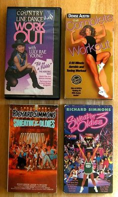 4 Fitness Tapes Richard Simmons Austin Sweatin' To The Oldies Workout Dance