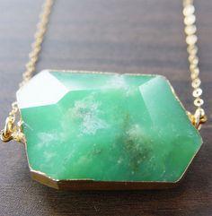 Green Chrysoprase Druzy Necklace