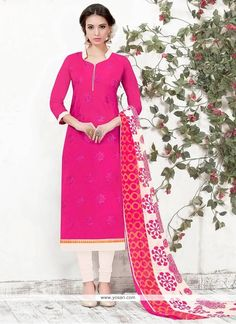 Ideal Embroidered Work Chanderi Churidar Suit Model: YOS8477
