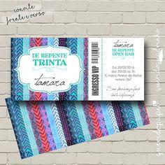 Arte Digital de Convite Ingresso (frente e verso). Convite Ticket. Convite Festa. Convite Vip