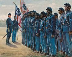 Col. Robert Shaw and the 54th Massachusetts by artist Mort Künstler. The 54th Massachusetts Infantry was the first volunteer black regiment raised in the North. The ranks were filled with former slaves and freedmen, all sharing the same dream of serving their country. Under the tutelage of its firebrand colonel, Robert Gould Shaw, the 54th became a model of perfection in drill and camp. Their true test came in battle, a suicidal assault on Battery Wagner on the South Carolina coast.
