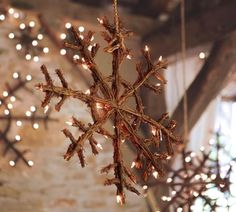 Rustic Snowflakes...with twinkle lights.
