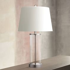 Glass and Steel Cylinder Fillable Table Lamp - #X1219 | Lamps Plus