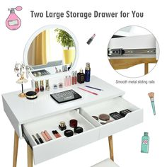 Makeup Vanity Table Set with Round Mirror Dressing Table-White Vanity Table Set, Makeup Table Vanity, Vanity Set, Makeup Dressing Table, Dressing Table With Stool, Hair Salon Chairs, Piano Stool, Table Shelves, White Vanity