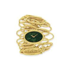 GOLD AND HARDSTONE WRISTWATCH, BY PIAGET: The Collection of Elizabeth Taylor: Jewelry (II)